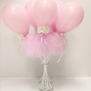 mini balloon wands pastel pink in vase