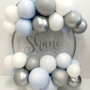 pastel blue silver and white balloon hoop no flowers