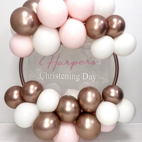 rose gold and pastel pink balloon hoop no flowers