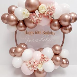 rose gold, pastel pink and white balloon hoop