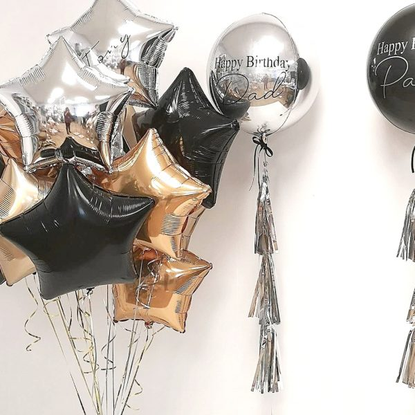 black gold and silver foil balloon bunch