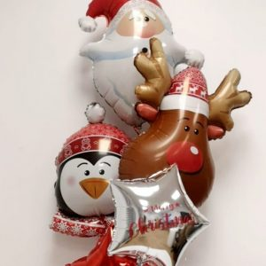 christmas balloon bunch santa