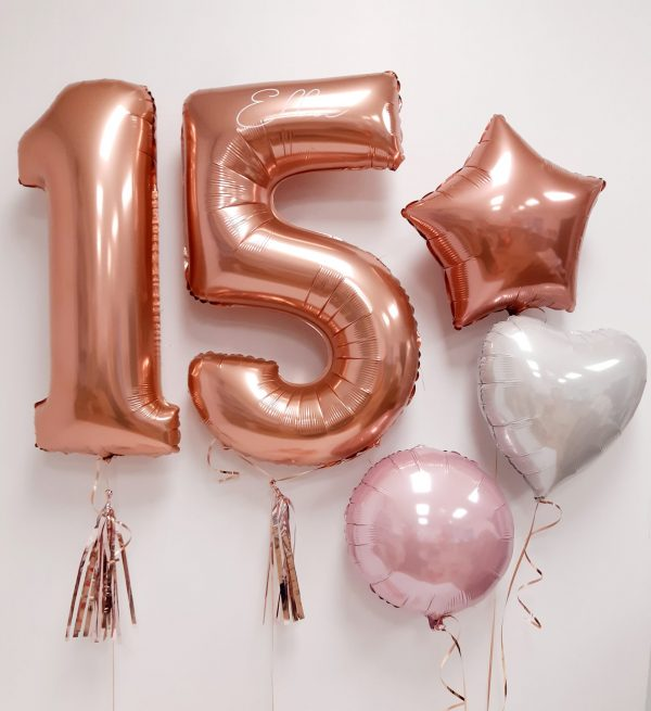 rose gold number and bunch package