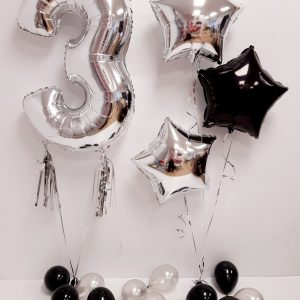 inflated silver balloon package