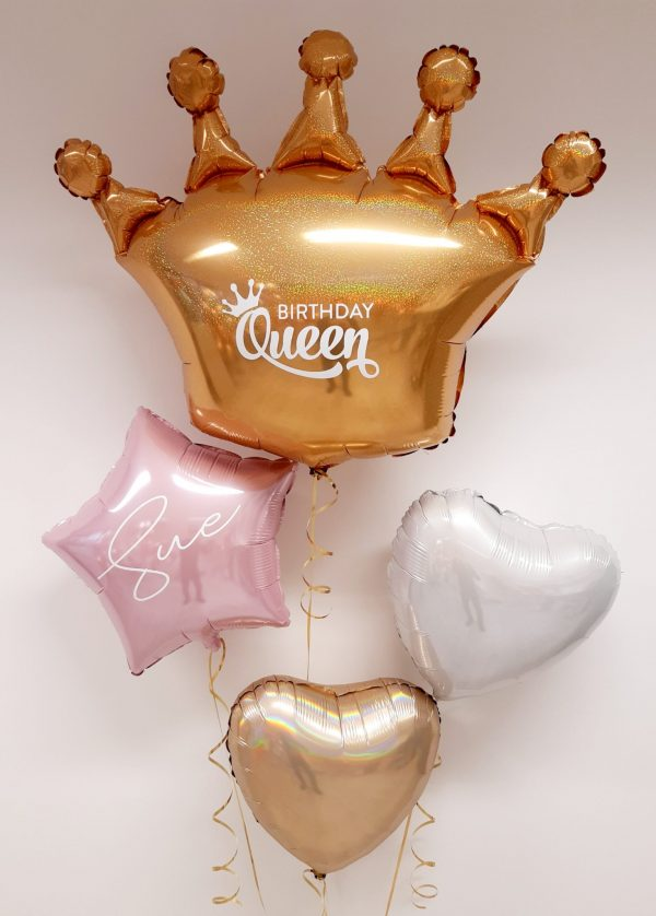 personalised birthday queen balloon package gold crown
