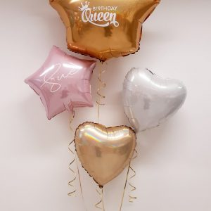 personalised birthday queen balloon package pink gold