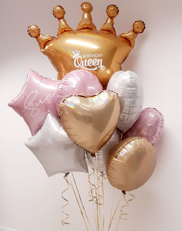 personalised birthday queen crown balloon bunch