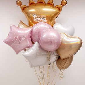personalised birthday queen large balloon bunches