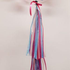 personalised bright pink & blue confetti bubble balloon tassel tail