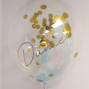 personalised gold & blue confetti bubble balloon