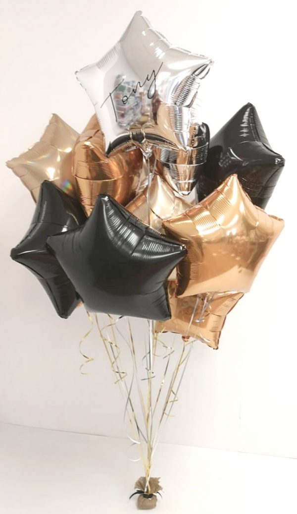 personalised large balloon bunches gold, silver, black