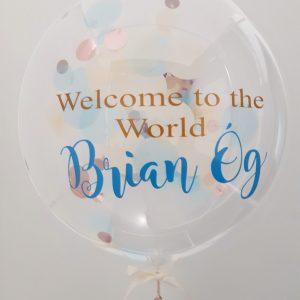 personalised rose gold & blue confetti bubble balloon