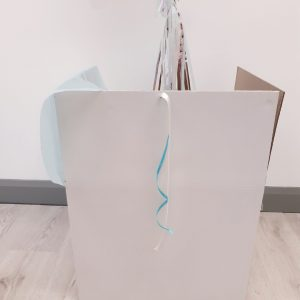 personalised rose gold & blue confetti bubble balloon white gift box