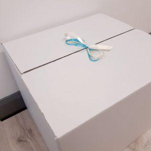 personalised rose gold & blue confetti bubble balloon white gift box closed