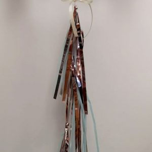 personalised rose gold, blue & ivory confetti bubble balloon tassel tail