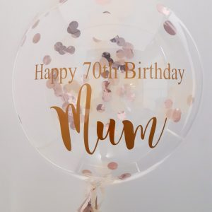 personalised rose gold & ivory confetti bubble balloon