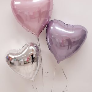 pink lilac and sliver balloon bunch of 3 balloons