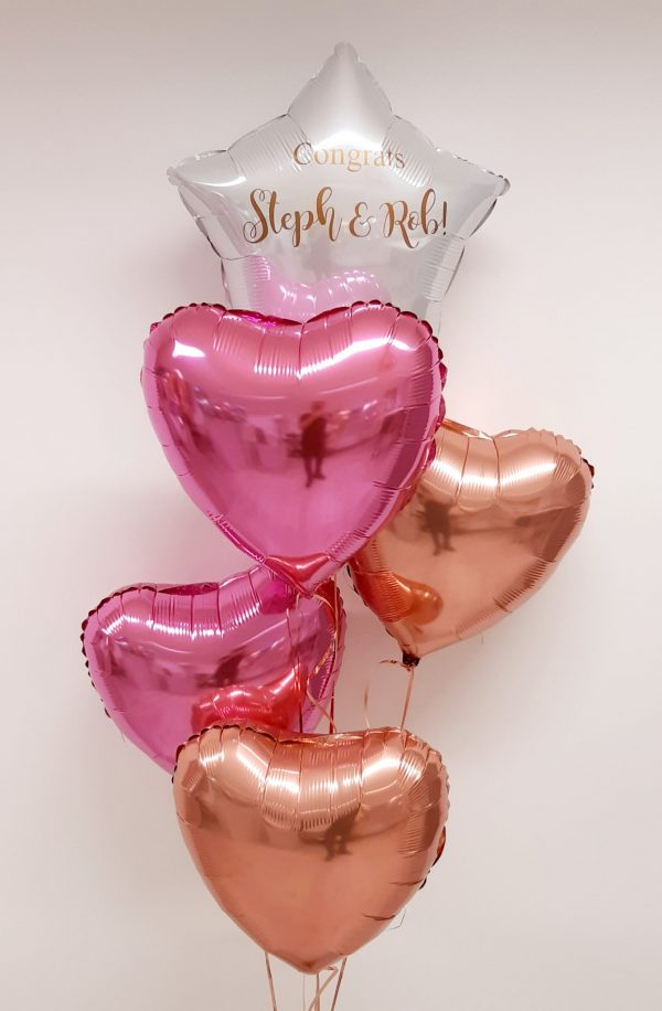 pink rose goil balloon bunches