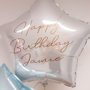white personalised foil star balloon
