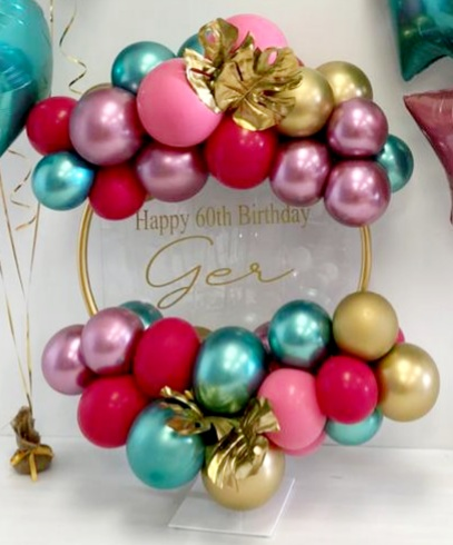 balloon hoop mauve, gold, chrome green
