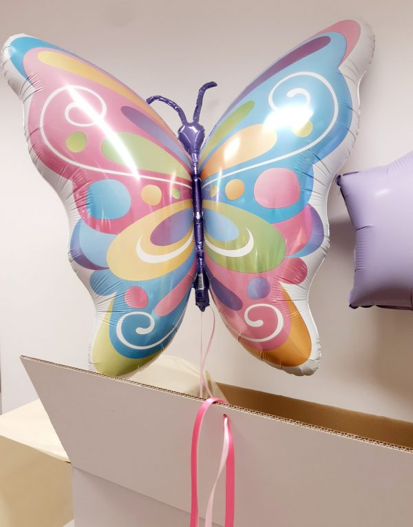 butterfly helium balloon in white box