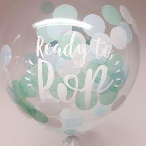 confetti bubble balloon pale blue, mint and white