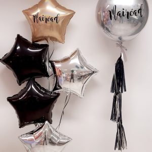 silver orb balloon with tassel and bunch of 3 balloons