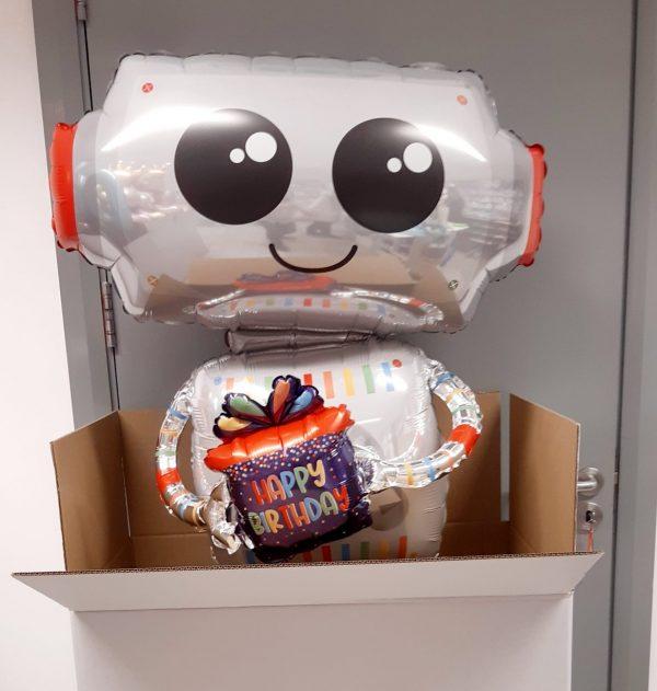 Happy birthday robot giant balloon in extra large white gift box