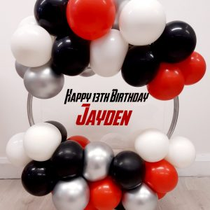 Red black and white balloon hoop personalised centre