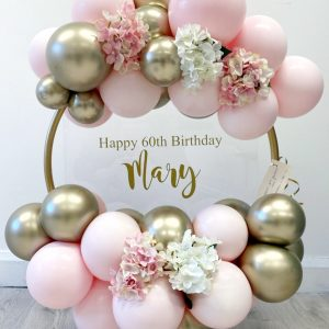 gold pastel pink balloon hoop