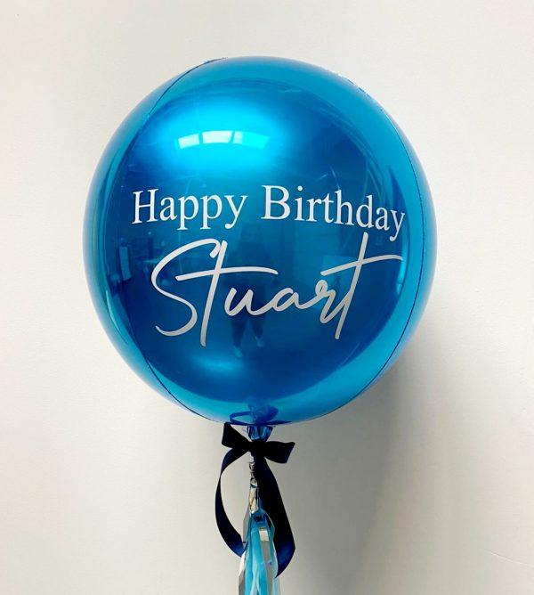 blue orb balloon personalised