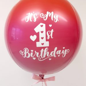 ombre orb balloon red & pink