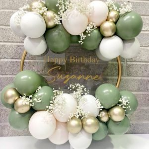 eucalyptus and gold balloon hoop personalised centre