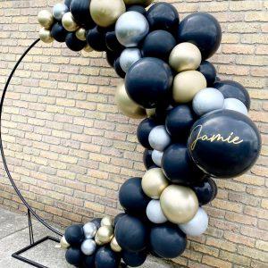 black, silver, gold balloon circle