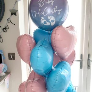 gender reveal balloon bunch with personalised orb