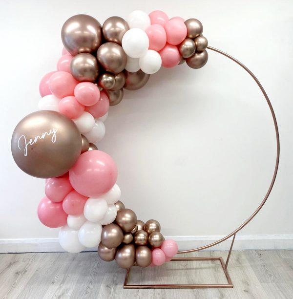 rose gold, pink, white balloon circle