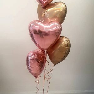 rose gold and gold heart balloons