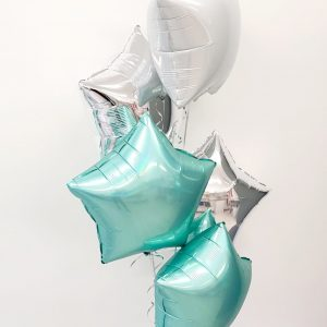 tiffany white and silver balloon bunch
